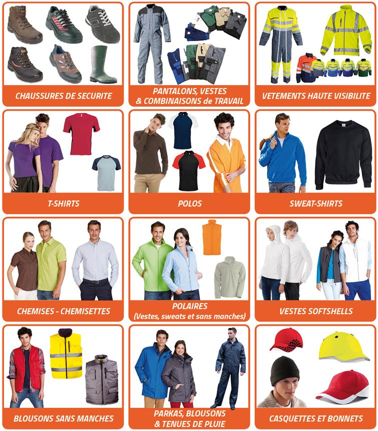 Découvrez nos vêtements de travail et publicitaires.